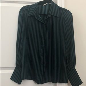 Black and Green Striped Blouse